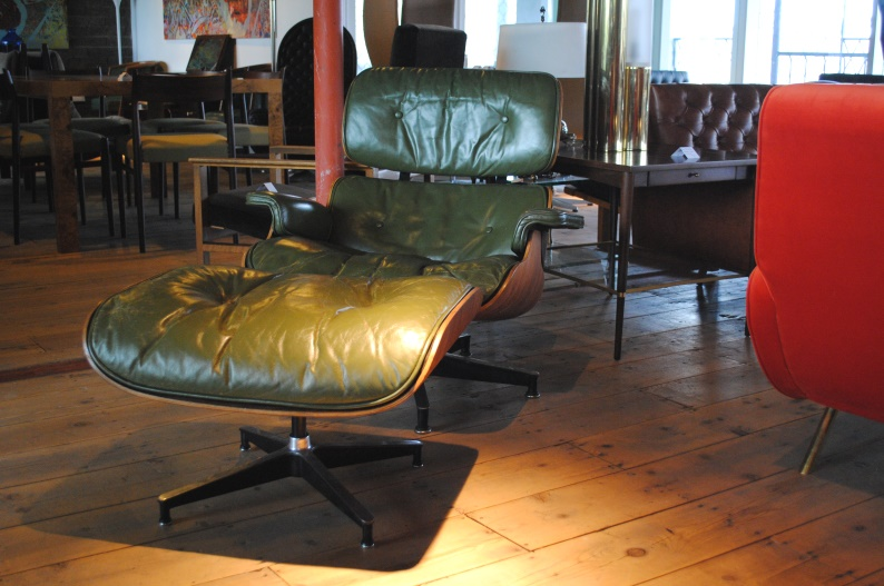 Early Rosewood and Green Leather Eames Ottoman and Lounge, $7,800