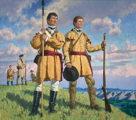Charles Fritz, The Captains Lewis and Clark-Trusted Leaders, Loyal Friends oil on canvas, Courtesy the Peterson Collection