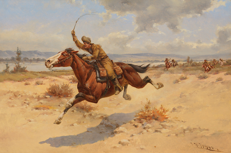 Herman W. Hansen, Pony Express Rider, (n.d.), oil on canvas, On loan from the Peterson Collection.